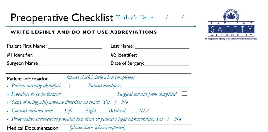 Read book pre operative checklist hospital forms PDF